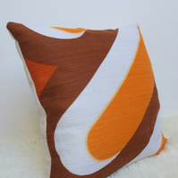 "Retro Cushion Cover, Original 60s 70s Fabric, 18x18"" Brown Orange Geometric"