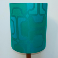 Original Retro Fabric Lampshade, 70's, 25cm, Tall Drum, Geometric, Blue, Green