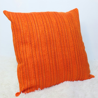 "Retro Cushion Cover, Original 60s 70s Fabric, 18""x18"" Orange Boho Campervan VW"