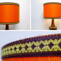 Original Retro Fabric Lampshade, 70's, 30cm, Drum, Orange, Trim, Edging