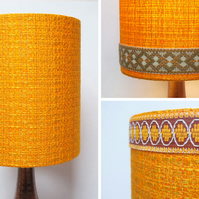 Retro Fabric Lampshade, Extra Tall Shade, 60s 70s, Orange, Yellow, Trim