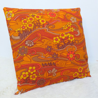 "Retro Cushion Cover, Original 60s 70s Fabric, 16x16"" Orange, Floral, Jonelle"