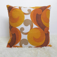 "Retro Cushion Cover, Original 60s 70s Fabric, 16x16"" Geometric Orange Brown"
