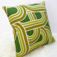 "Retro Cushion Cover, Original 60s 70s Fabric, 16x16"" Geometric Green White"