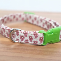 "Vintage Fabric Dog Collar, Handmade, Small Collar (10""-11.5"") Wedding"