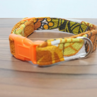 "Retro Fabric Dog Collar, Handmade, Small Collar (11""-13"") Wedding"