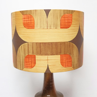 Retro Lampshade, Original 60s 70s Paper, 30cm Drum, Brown, Orange, Boho