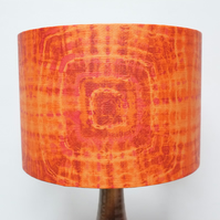 Retro Lampshade, Original 60s 70s Paper, 30cm Drum, Orange, Pink, Boho