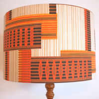 Original Retro Fabric Lampshade, 70's, 40cm, Orange, Brown, Geometric