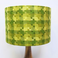 Original Retro Fabric Lampshade, 70's, 30cm, Green, Vintage, Boho