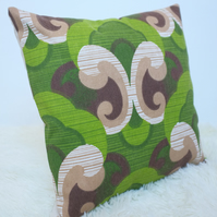 "Retro Cushion Cover, Original 60s 70s Fabric, 16x16"" Green Campervan VW"