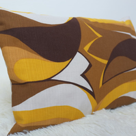 "Retro Cushion Cover, Original 60s 70s Fabric, 12x18"" Brown Yellow Campervan VW"