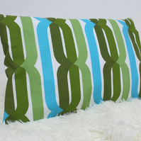 "Retro Cushion Cover, Original 60s 70s Fabric, 12x18"" Blue Green Campervan VW"