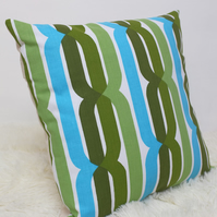 "Retro Cushion Cover, Original 60s 70s Fabric, 16x16"" Blue Green Stripey"