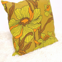 "Retro Cushion Cover, Original 60s 70s Fabric, 16x16"" Floral Yellow Orange"