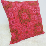 "Retro Cushion Cover, Original 60s 70s Fabric, 16x16"" Pink Brown Floral"