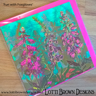 Greetings Card - 'Fun with Foxgloves' - Blank inside