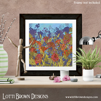 Poppies Print, Nature Wall Art, Floral Art Print, Giclee Print 12 x 12 inches