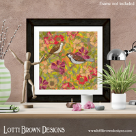 Fine Art Giclee Print - 'Sweet Sparrows & Briar Rose' - Unframed
