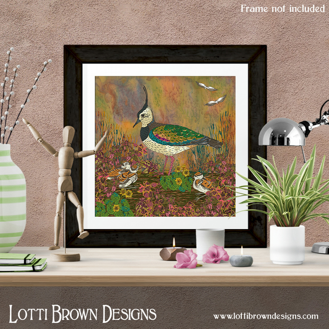 Lapwing Bird Art Print, Bird Lover Gift, British Birds Art, Giclee Print 12 x 12