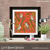 Fine Art Giclee Print - 'Goldfinches in Gorse' - Unframed