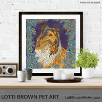 Fine Art Giclee Print - 'Rough Collie with Blue Flowers' - Unframed