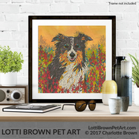 Border Collie Art, Collie Art Print, Dog Lover Art, Giclee Print 12 x 12 inches