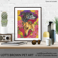 Greyhounds Print, Greyhound Art, Dog Lover Art, Greyhound Lover Giclee Print