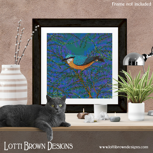 Nuthatch Art British Birds Print, Bird Lover Gift, Giclee Print 12 x 12 inches