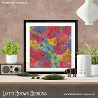 Poppies Abstract Floral Wall Art, Abstract Flowers Print, Giclee Print 12x12
