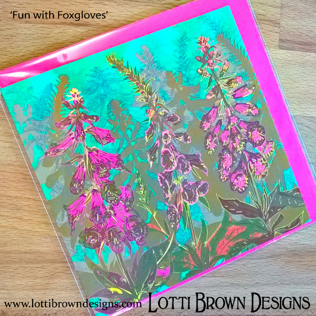 Foxgloves Flower Art Card, Blank Cards, Square Cards, Art Cards