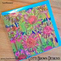 Sunflowers Card, Flowers Art Card, Blank Card, Square Card