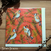 Goldfinches Bird Greetings Card, British Birds, Blank Card, Art Cards,