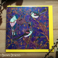 Long-tailed Tits Blank Greetings Card, Bird Greeting Card, Blank Card,