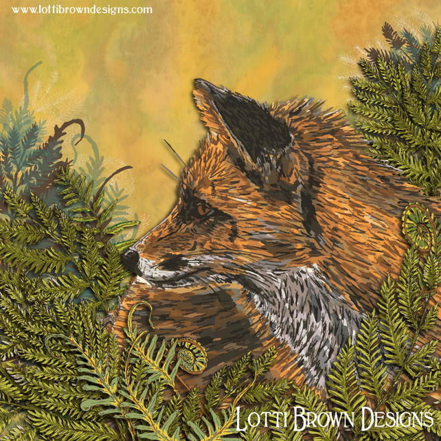 Fox Art Print, Wildlife Art, Fox Gift Idea, Giclee Square Print 12 x 12""