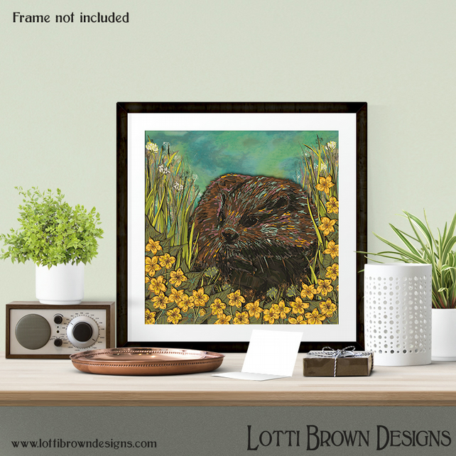 "Otter Art Print, Nature Art, Wildlife Art, Giclee Square Print 12 x 12"" inches"