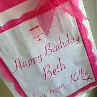 Personalised Birthday Gift Wrap -  Paper Gift Bag Organza Bow & Tissue Paper