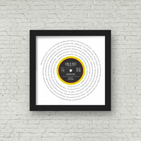 Any favourite song words Vinyl look Framed Print - with PERSONALISED label