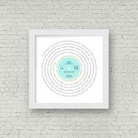 Any favourite song lyrics Vinyl Record look framed print PERSONALISED Oasis