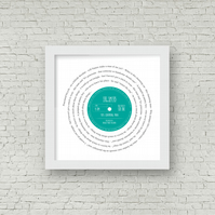 Any favourite song lyrics Vinyl Record look framed print PERSONALISED LABEL