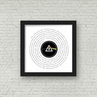 Pink Floyd lyrics Vinyl Record look framed print PERSONALISED LABEL