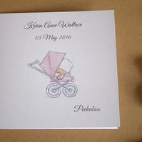 Congratulations Baby Girl Card & envelope Personalised - 6 x 6 inch Square