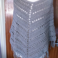 Crocheted Grey Boho Poncho