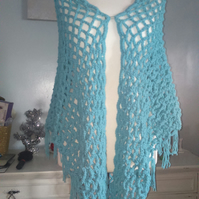 Light Blue Chunky Crochet Boho Net Shawl