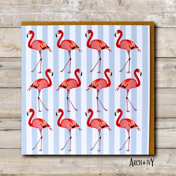 Flamingo Stripe Greeting Card