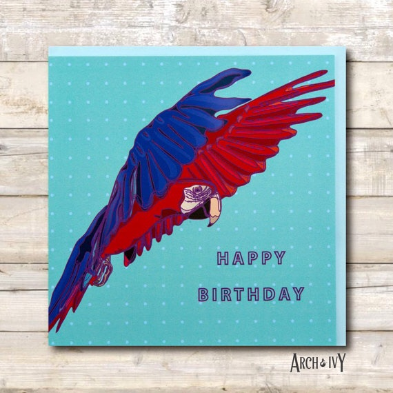 Macaw Print Happy Birthday Greeting Card