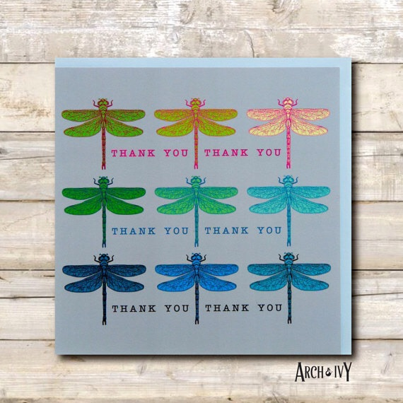 Dragonfly Ombré Thank You Greeting Card