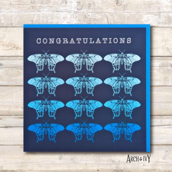 Ombré Butterfly Congratulations Greeting Card