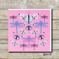 Butterfly & Dragonfly Greeting Card (Pink)