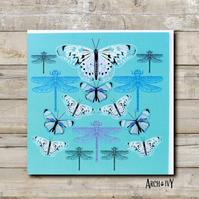 Butterfly & Dragonfly Greeting Card (Turquoise)